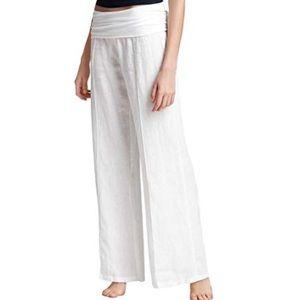 Just living linen cotton fold over stretch waist S